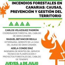 """JUEVES 2 DE JULIO, MESA REDONDA: """"INCENDIOS FORESTALES EN CANARIAS: CAUSAS, PREVENCIÓN Y GESTIÓN DEL TERRITORIO"""""""