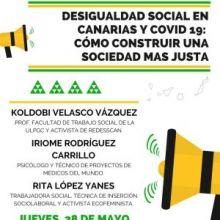 """MESA REDONDA: DESIGUALGAD SOCIAL EN CANARIAS Y COVID-19: CÓMO CONSTRUIR UNA SOCIEDAD MÁS JUSTA"""", EL JUEVES 28 DE MAYO, A LAS 18.00 HORAS"""